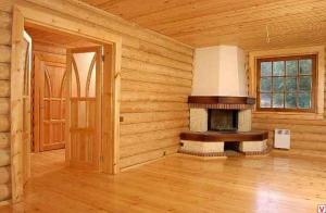 Отделка  стен  деревянного  коттеджа.